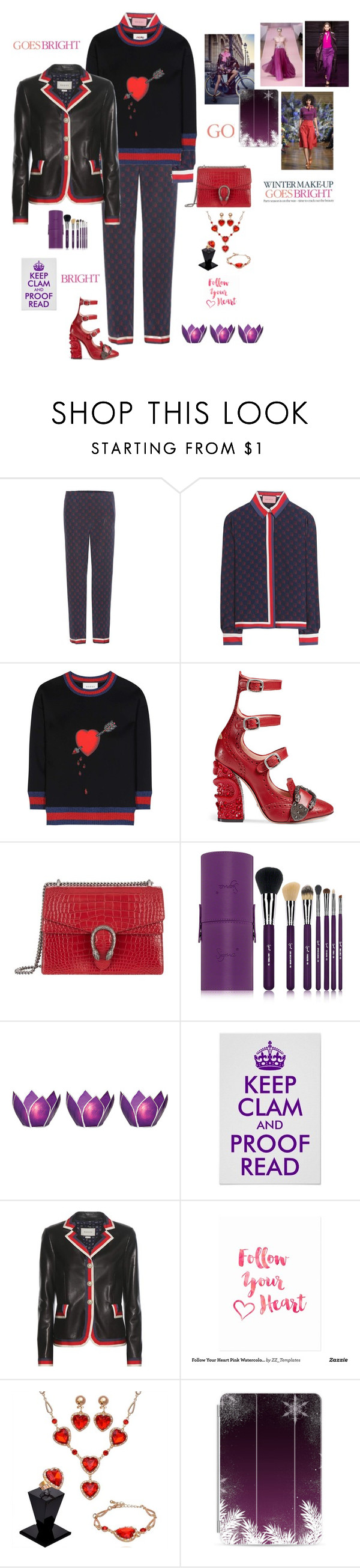 """""""Silk suit"""" by mbarbosa ❤ liked on Polyvore featuring Gucci, Sigma, Cultural Intrigue, Burton, Casetify, Vanessa Seward, Nina Ricci and Celestine"""