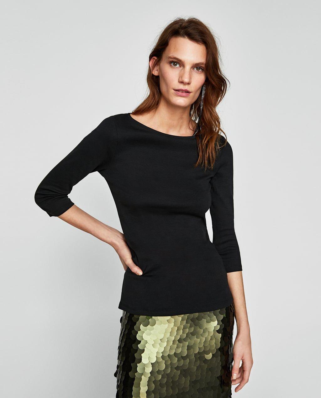 Tshirt with three quarter length sleevesnew inwoman zara united
