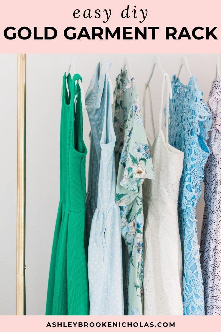 Tour This Amazing Fashion Blogger S Transitional Home Office: Easy DIY Gold Glitter Full Length Mirror And Garment Rack Tutorial