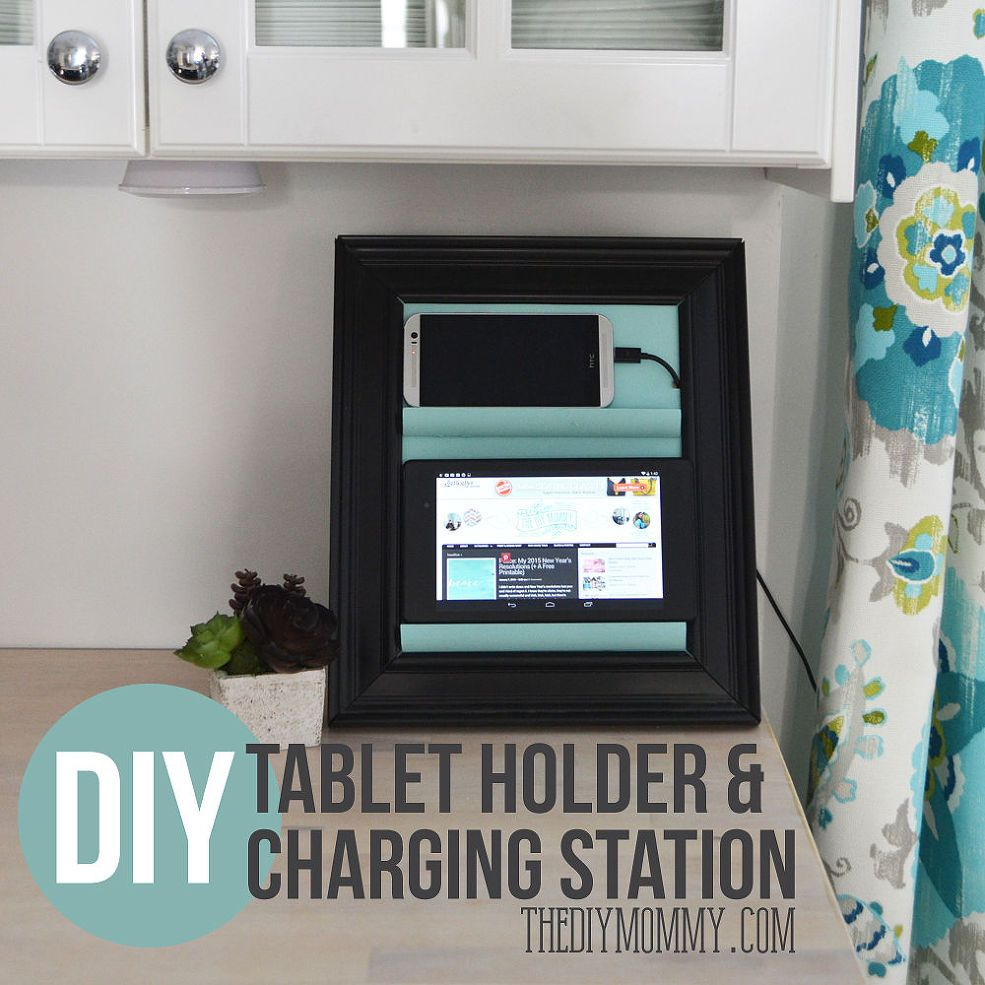 A Counter Top Charging Station Tablet Holder From A Picture Frame Dollar Store Decor Old Picture Frames Diy