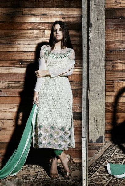 Cream and green designer trouser suit with dupatta - Desi Royale
