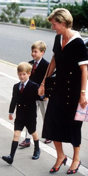 Diana, Princess of Wales with her sons, Princes Harry and WIlliam.