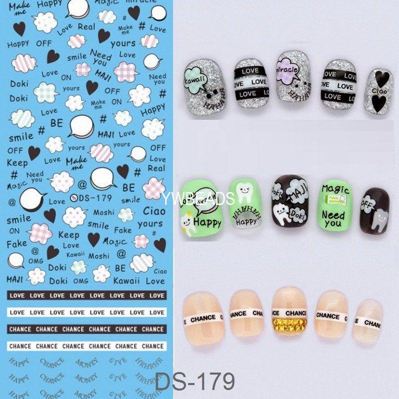 Manicure Watermark Large Sheet Heart Panda Series Stickers Decals ...