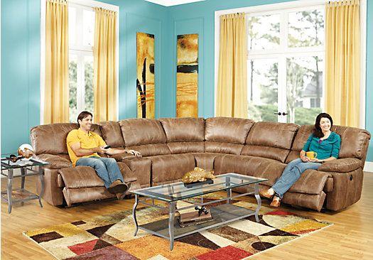 Stetson Ridge Brown 8 Pc Sectional Living Room Plus Hdtv Open