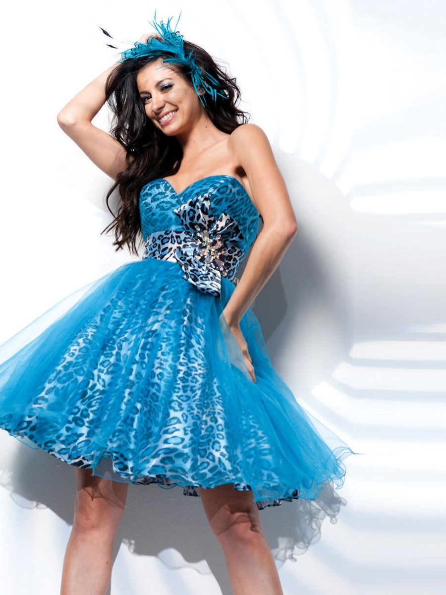 Blue Tulle A-line Sweetheart Bow Tie Prom Dress | Prom Dresses ...