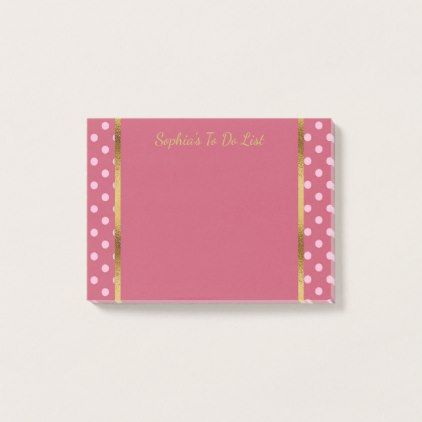 Cute Personalized Pink Polka Dots and Gold Post-it Notes - pattern - sample notes