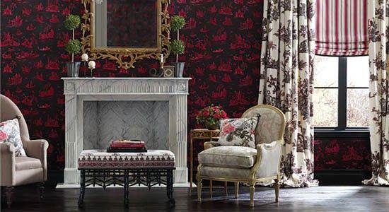 alessandra branca fabrics red black white classical traditional