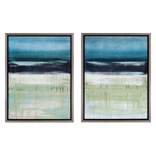 Paragon Decor Sea And Sky Framed Wall Art Set Of 2 Blue Landscape Art Prints Diptych Art Wall Art Sets