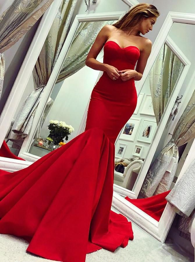 9c2986e6751f 2019 Mermaid Sweetheart Long Sweep Train Red Satin Prom Dresses, TYP1505  The dress is fully