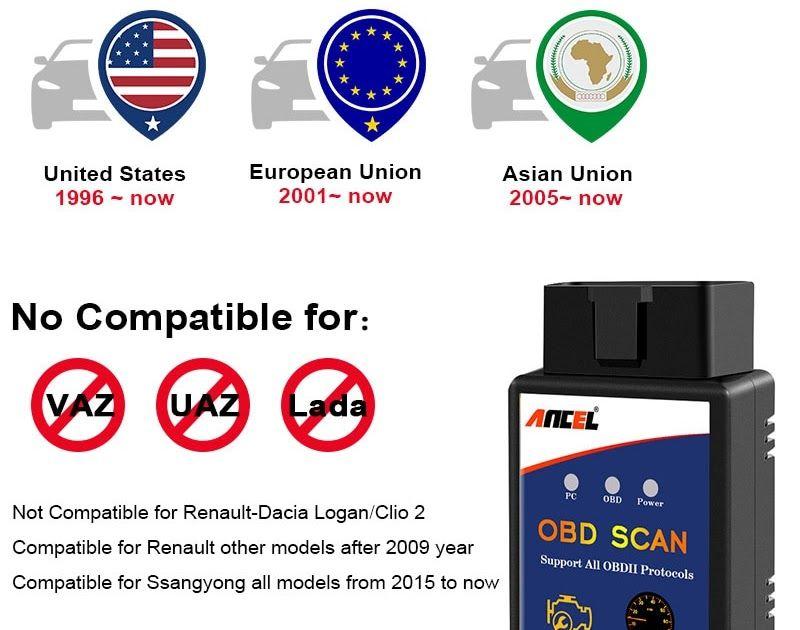 Automobiles and motorcycles obd2 ancel elm327 v15 scanner