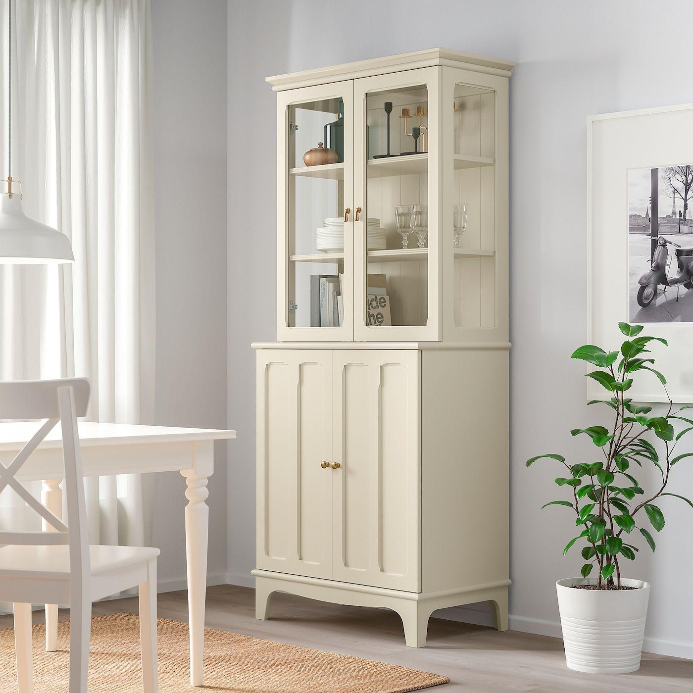 LOMMARP Cabinet with glass doors, light beige, 337/8×783/8″ …