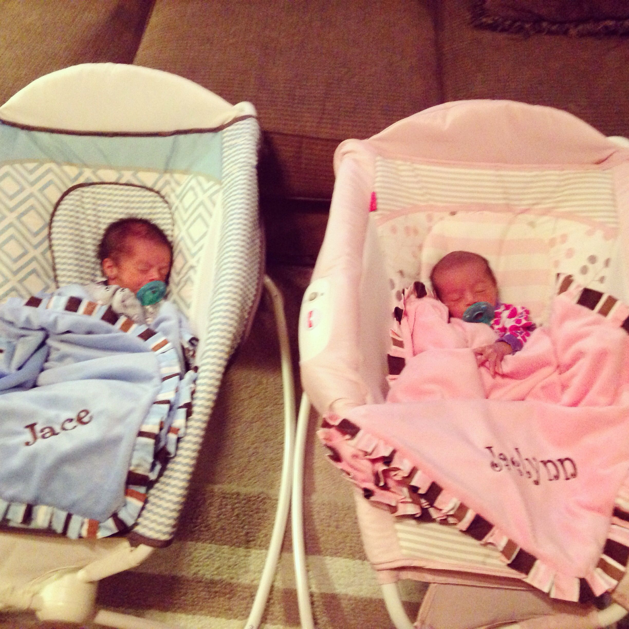 First day home from the hospital with the twins.
