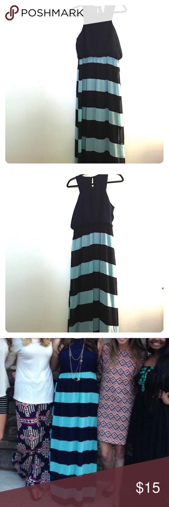 Navy Blue and Light Blue Striped Maxi Dress Fun and flirty sleeveless maxi dress with a navy blue top and striped navy and light blue skirt Dresses Maxi