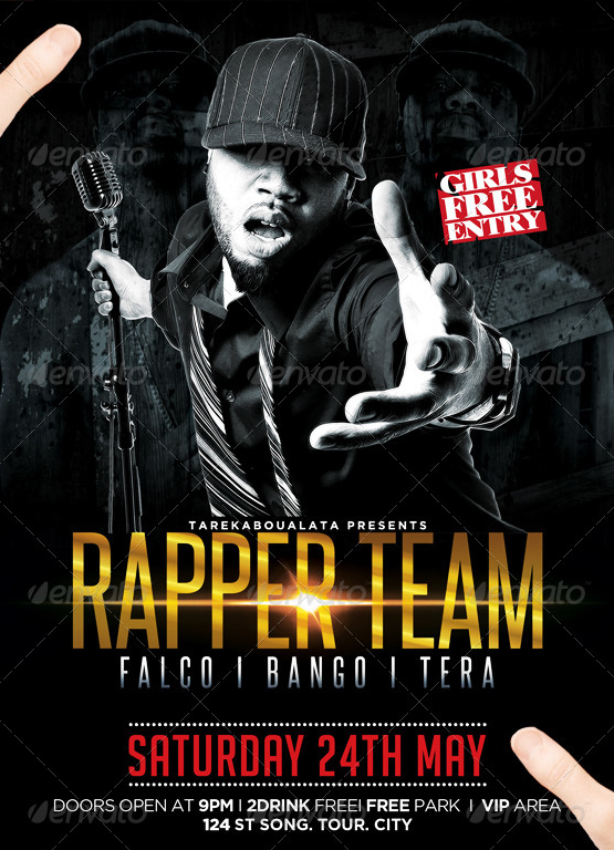 Rapper Team Hip Hop Flyer Template  Party Flyer Templates For