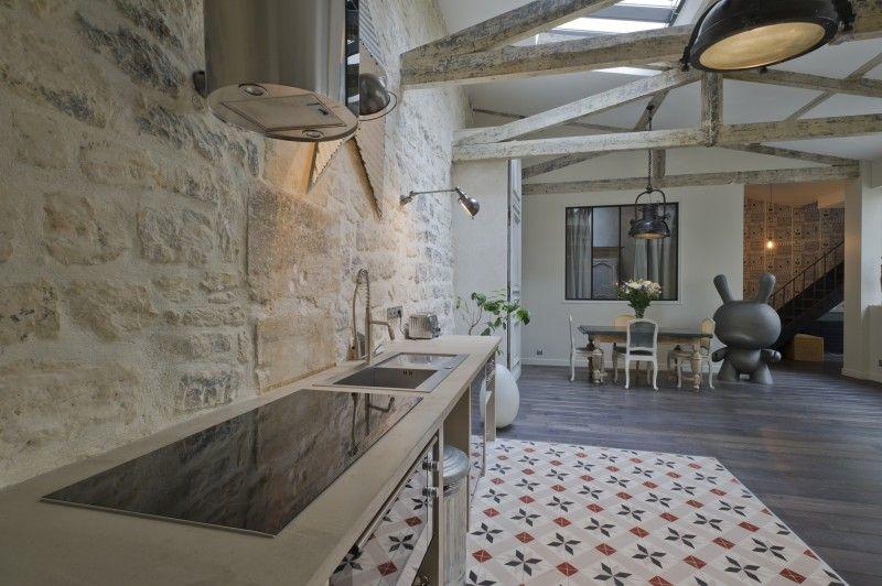 Sol en carreau de ciment et parquet | cuisine | Pinterest ...