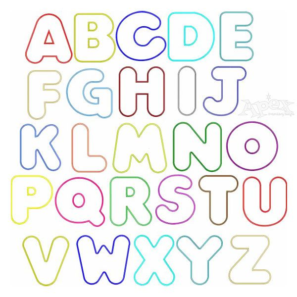 Simple Round Applique Embroidery Font To Cut Easy Edges 3 Sizes 4 6