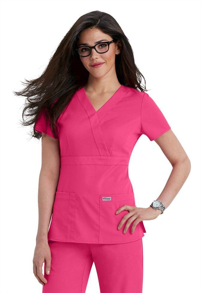 Greys Anatomy 3-pocket mock-wrap scrub top | Scrubs and Beyond ...