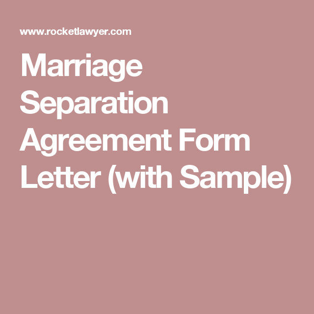 Marriage Separation Agreement Form Letter With Sample  Married