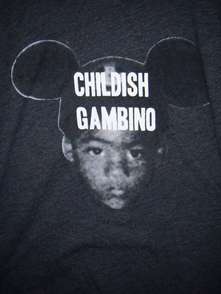 5c344ba2e9d Donald Glover Childish Gambino wearing Mickey Mouse ears adult XL black  t-shirt  Unbranded  GraphicTee
