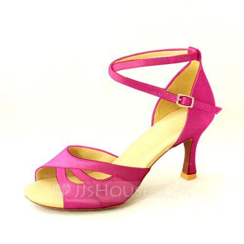 Us 27 00 Women S Satin Heels Pumps Latin With Ankle Strap Dance Shoes Jj S House Pumps Heels Heels Satin Heels