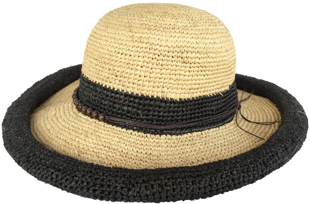 Headchange Women s Rolled Kettle Brim Crochet Raffia Straw Sun Hat 065b78c9a796