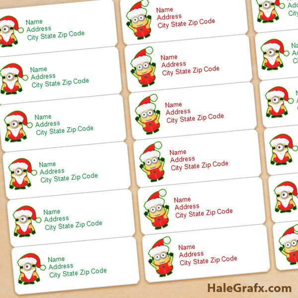 free printable christmas minions address labels free printable