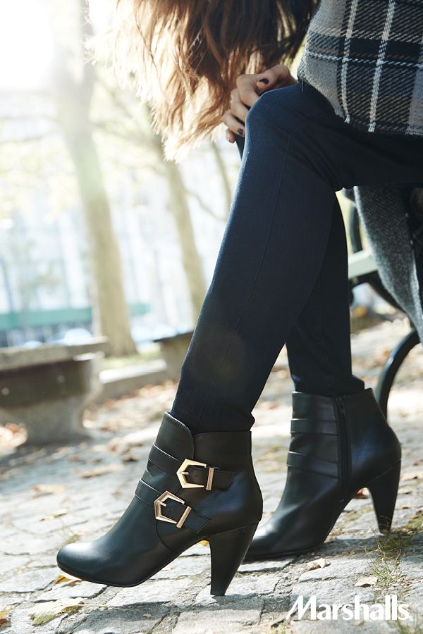 921fa95c4a7 What s on your buckle list  Black leather booties with metallic accents are  the must-have shoes for fall.