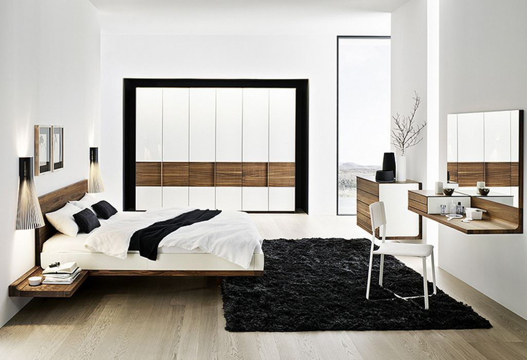Modern minimalist solid walnut bed furniture design for Modern minimalist bedroom furniture