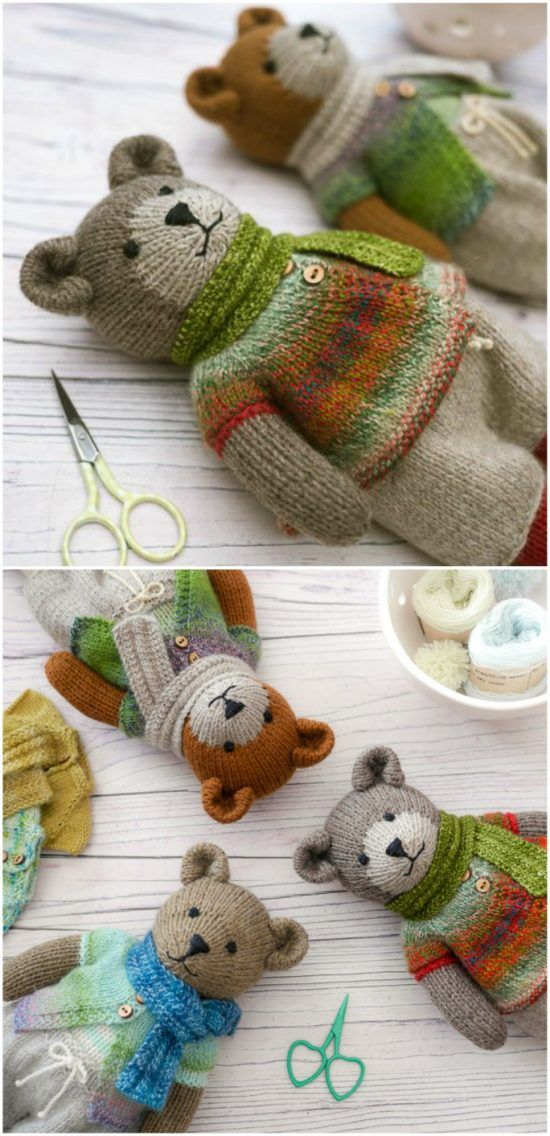 Knitted Teddy Bear Patterns Easy Video Instructions #knittingideas
