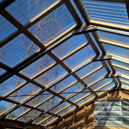 Greca corrugated polycarbonate panels. View from inside ...