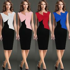 http://ift.tt/1iFcTMU Womens Asymmetric Neck Casual Cocktail Party Pencil Dress WhiteBlack Size XS