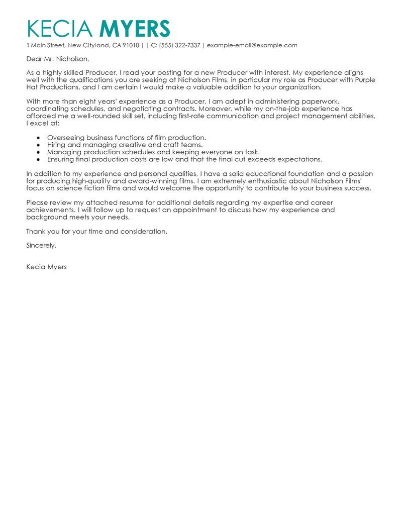 Best Media Entertainment Cover Letter Examples Livecareer Choose