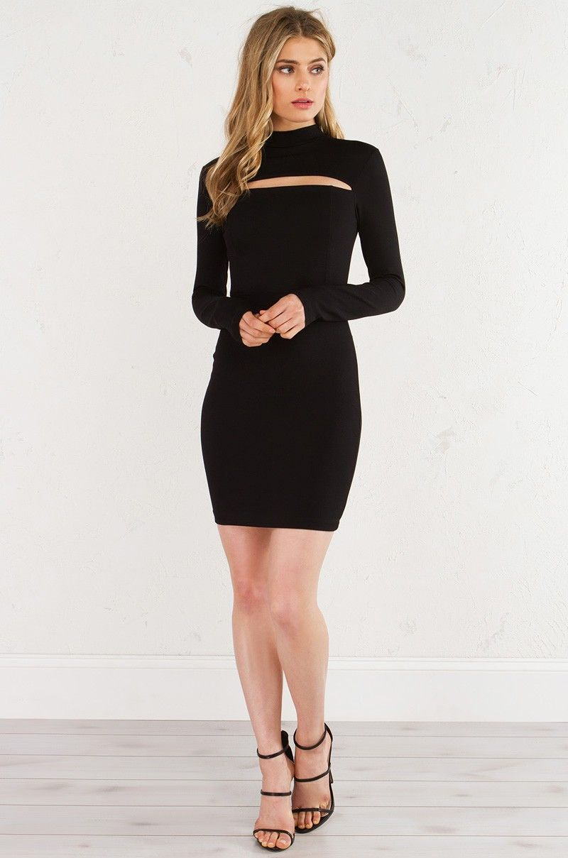 Turtleneck Bodycon Mini Dress in Black
