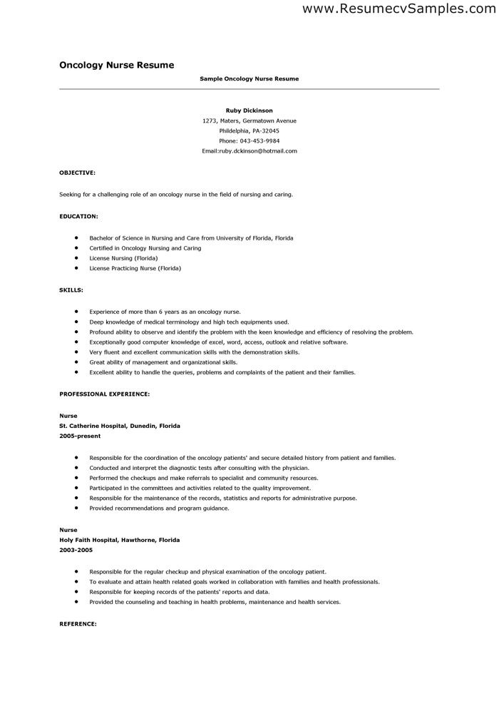 Oncology Nurse Resume Sample - http://www.resumecareer.info/oncology
