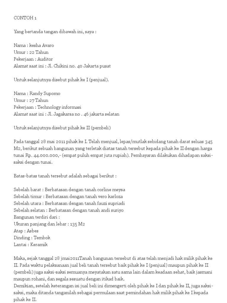 Contoh Surat Pernyataan Over Kredit Mobil Surat Kesha Tanda
