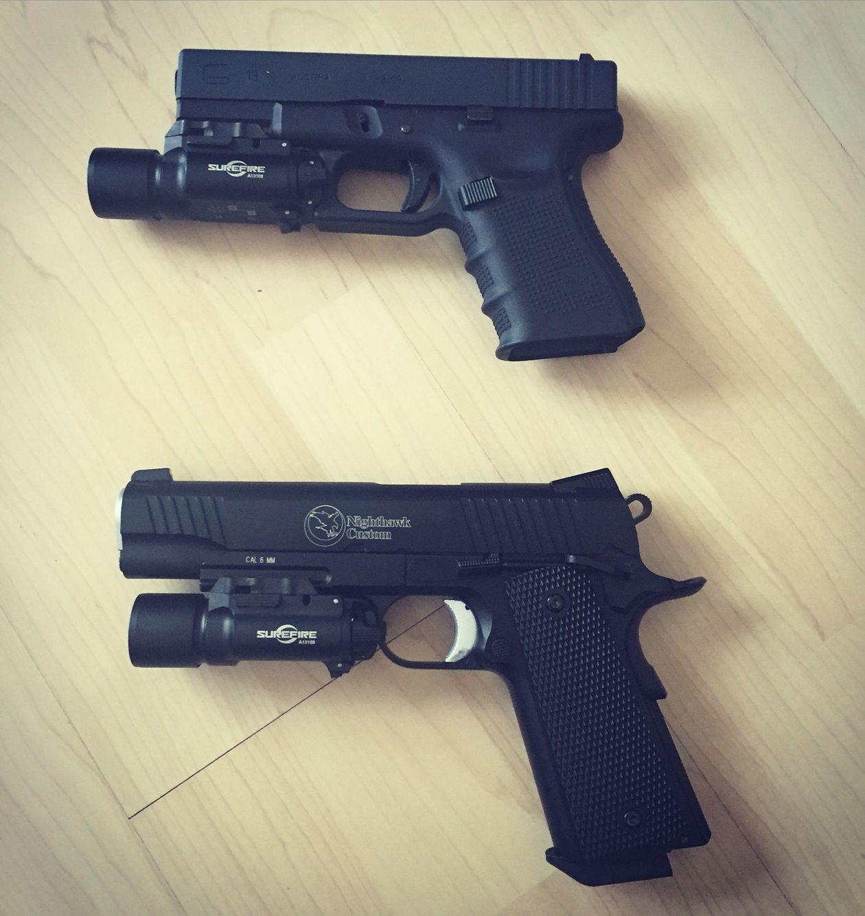 Glock 19 + Colt 1911 nighthawk custom = my babies   gun's