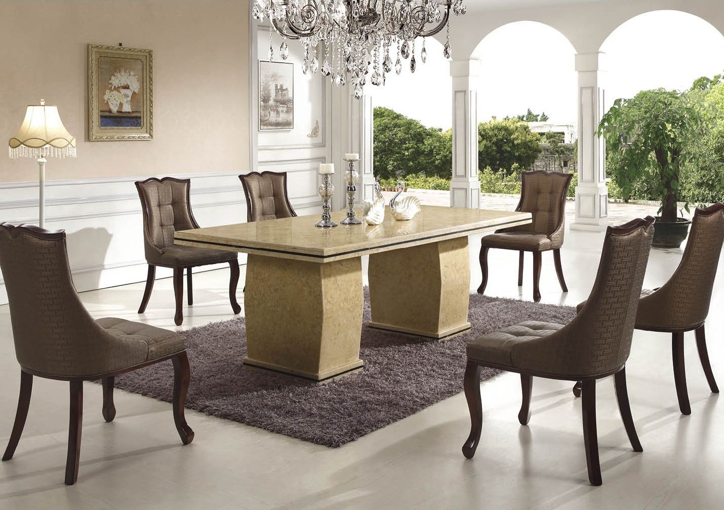 Dining Room Contemporary Marble Dining Table For 6 Brown Dining Fascinating White Dining Room Table And 6 Chairs Inspiration