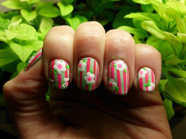 Flowers and Stripes by angeliq1217 from Nail Art Gallery