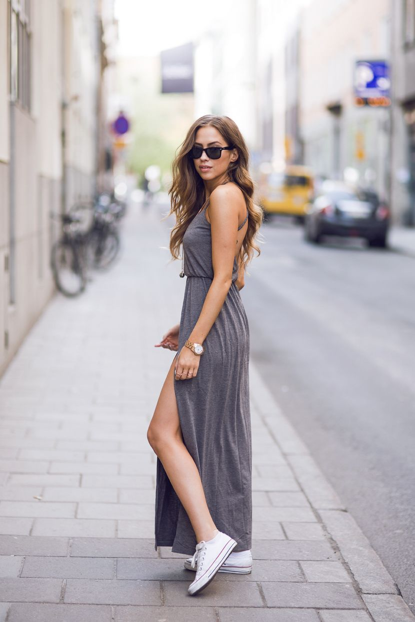 maxi + sneaks. The dress isn't difficult to look beautiful in, Sneakers are always our best friends. But, the dress and the sneaks. Well, if you can pull this off...