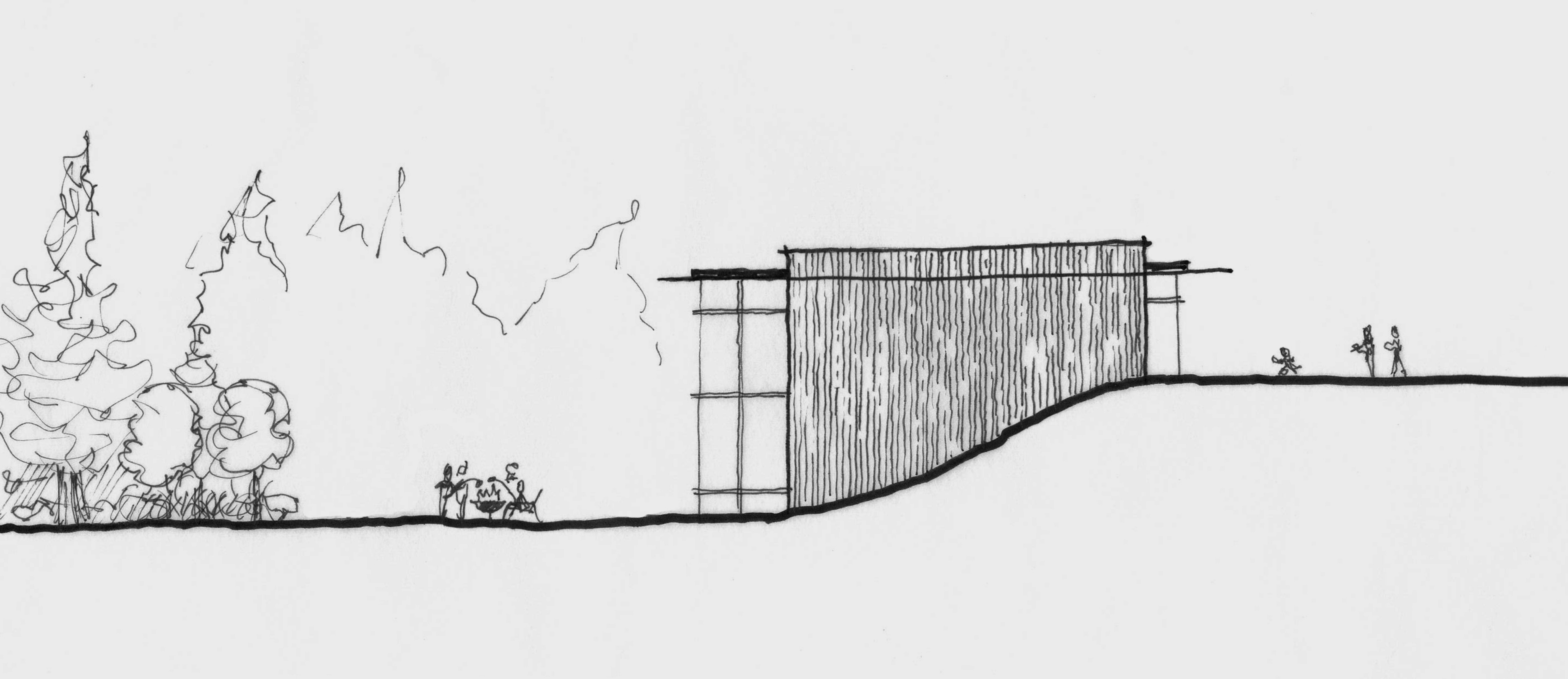 An elevation idea sketch for a #moderncabin #seattlearchitecture #modernarchitecture #customhome #moderndesign #modernhomedecor #pnw #home #modernhomedecor #cedarsiding #woodsiding  #floortoceilingwindows #modernarchitect #seattlearchitect #moderninteriors #moderninteriordesign #floorplans #modernfloorplans #homefloorplans #archsketch #archdrawing #architecturesketch #conceptsketch