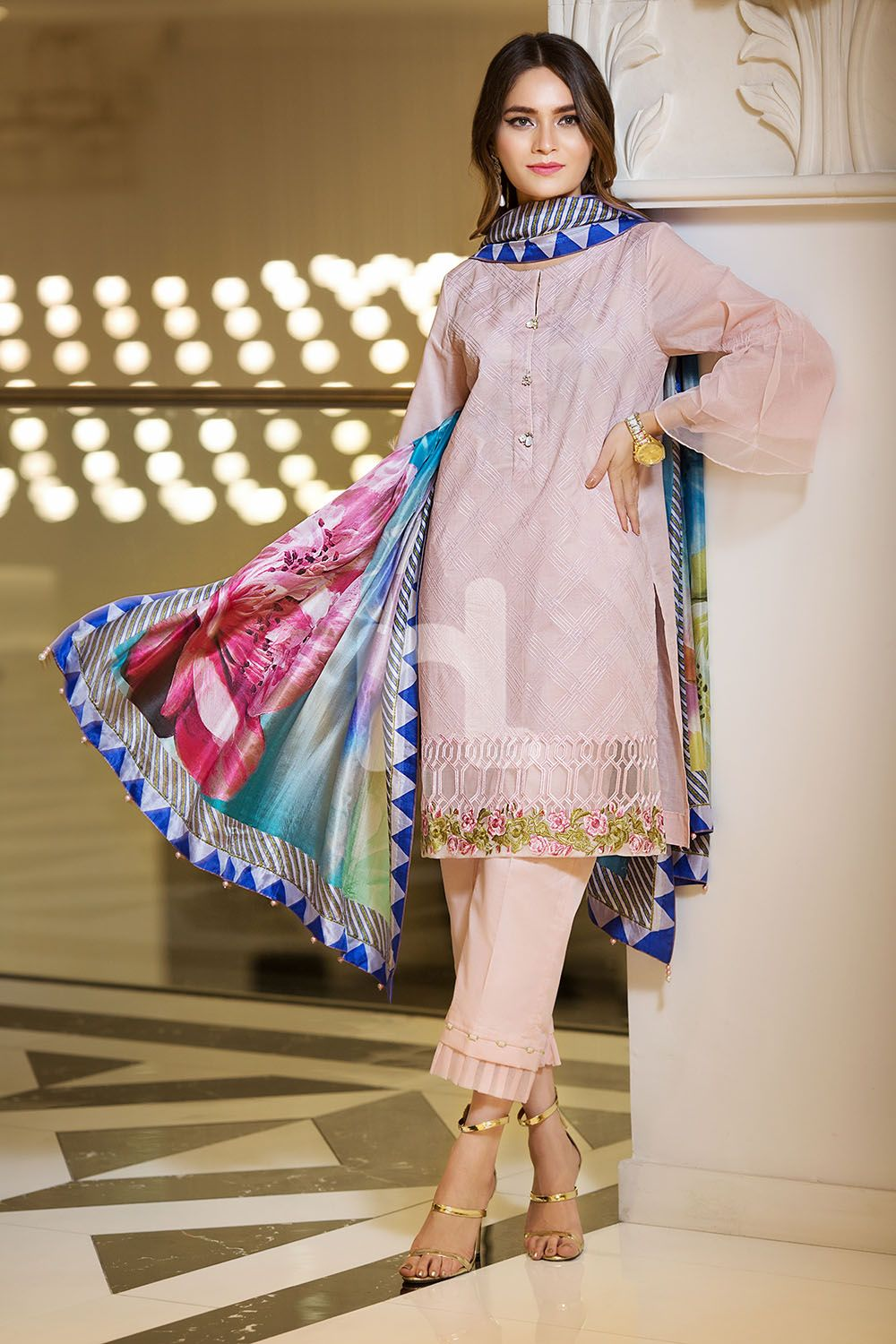 983a55423db Elegant and classy pink colored three piece unstitched lawn dress by Nishat  Linen embroidered 2018 wintercollection  blackfriday  readytowear  pretwear  ...