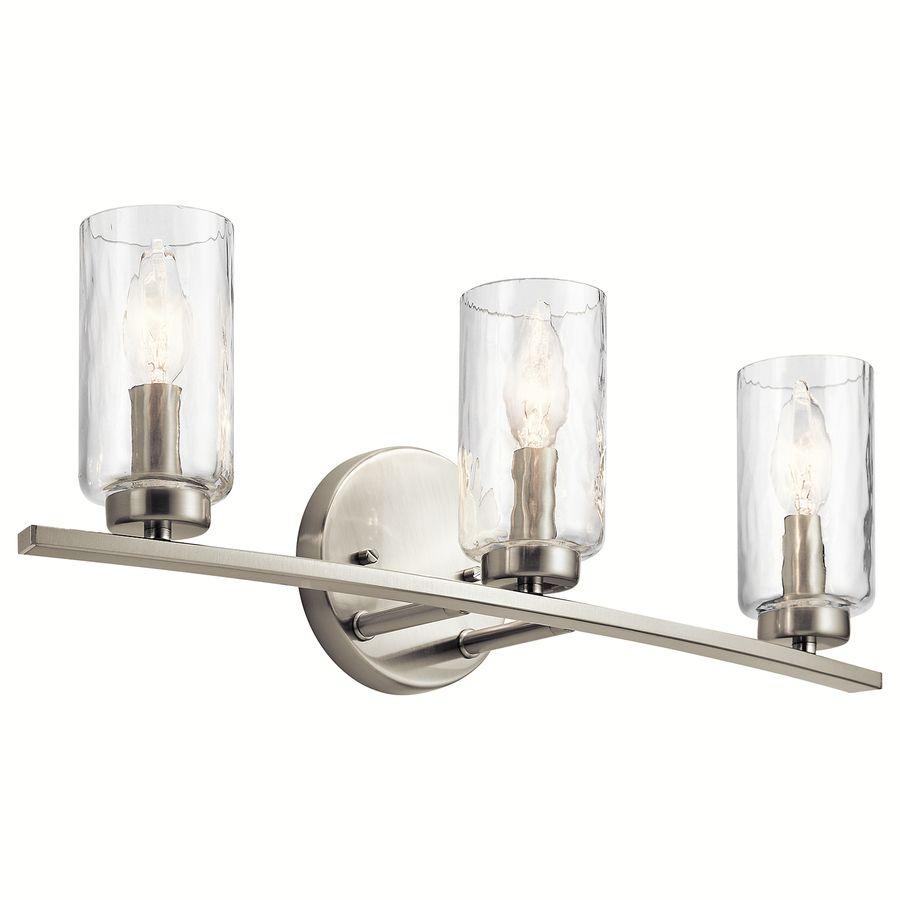 Kichler Marita 3 Light Nickel Transitional Vanity Light Lowes Com Glass Cylinder Pendant Light Vanity Lighting Transitional Vanity