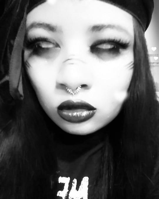 "👽 on Instagram: ""🖤🖤🖤🖤🖤🖤🖤🖤🖤🖤🖤🖤🖤 . . . . . . . . . . . . . . . . #septumpiercing #selfie #cutie #prettygirl #goth #thoseeyes #blackgirlmagic #snapchat…"""