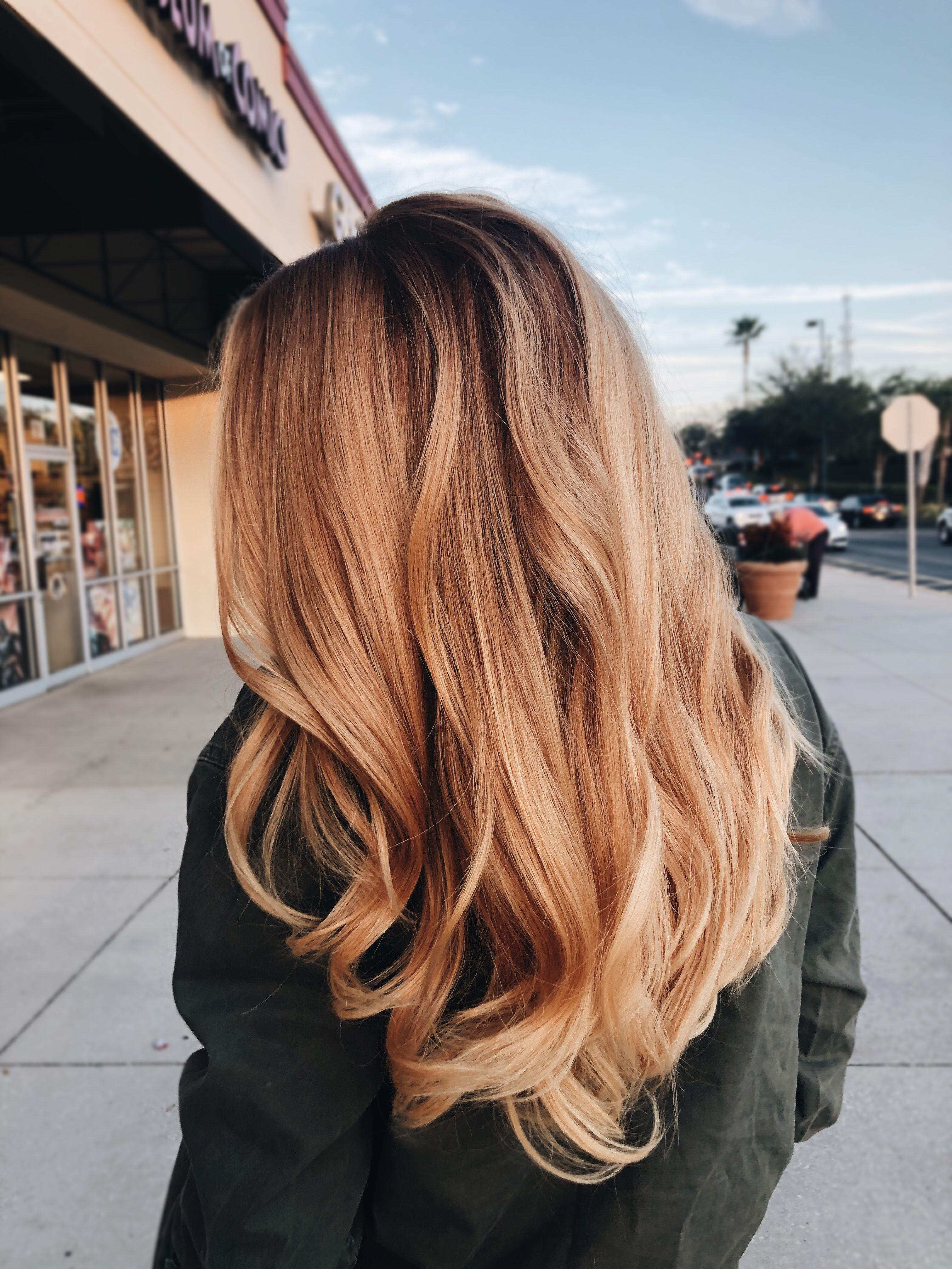 Strawberry Blonde Honey Blonde Balayage On Medium Length Hair