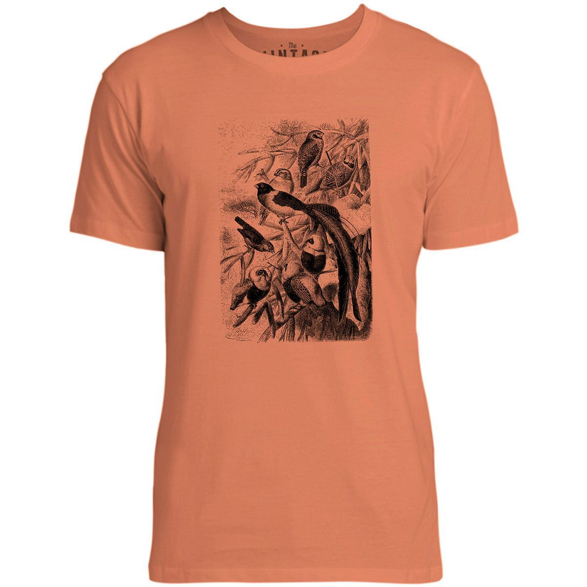 Mintage Amazon Tree Birds Mens Fine Jersey T-Shirt (Coral)