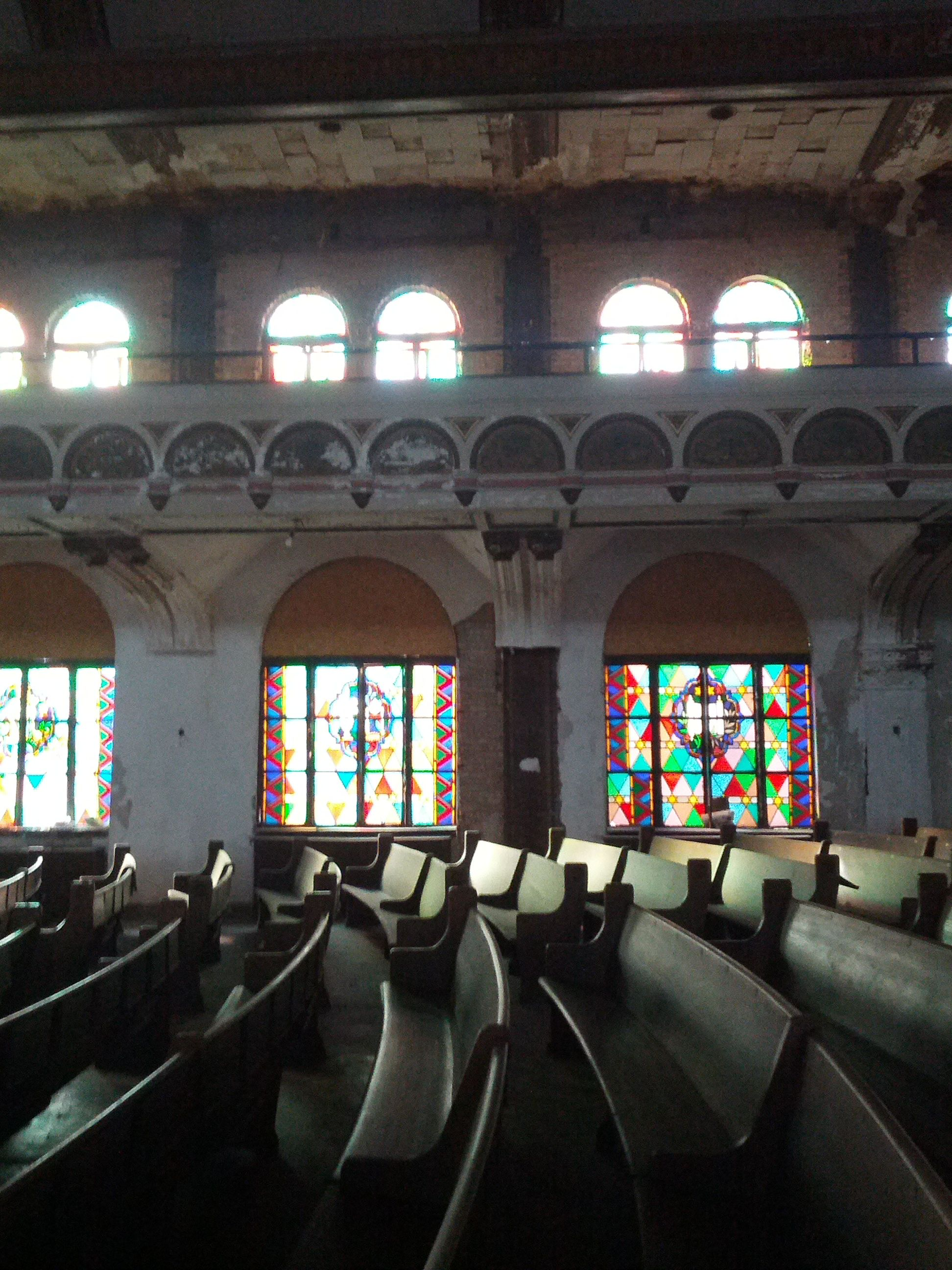 Morning light coming through the broken stained glass at Agudas Achim http://www.openhousechicago.org/site/171/