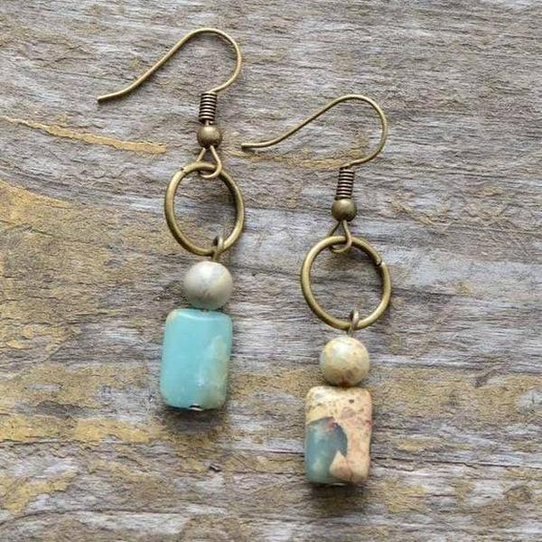 Photo of Vintage Copper Natural Stone Jasper Dangle Earrings Healing Stone Jewelry – Sp…