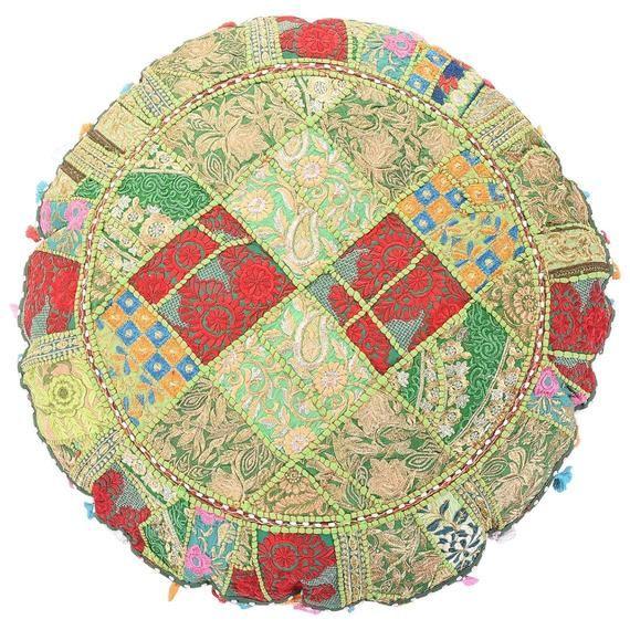 Indian Handmade Vintage Style Floor Cushion Embroidery Chair Pad Seat Cushion Ottoman Pouf Covor Patchwork Floor Meditation Cushion