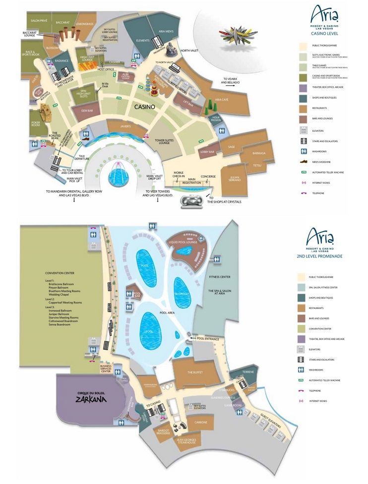 Las Vegas Aria hotel map | Nevada State / Navadian / Food / Places