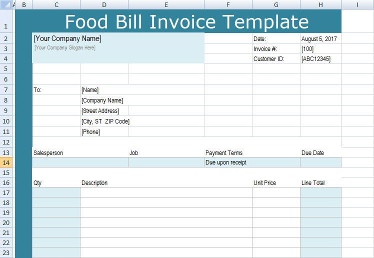 Food Bill Invoice Template Xls  Excel Project Management